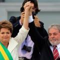 Brazil's president Dilma Rousseff with Luiz Inácio Lula da Silva outside Palácio do Planalto, Brazil