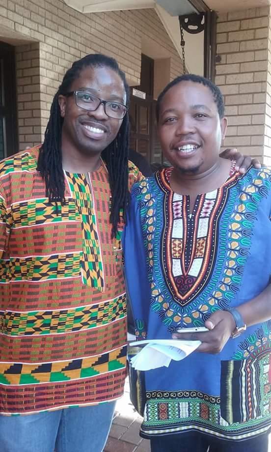 Sabata Mphob Mokae and Presley Chweneyagae at Rutanang Book fair. chweneyagae read passages from Mokae's book Ga Ke Modisa