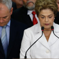 BRASILIA, BRAZIL – MAY 12: Suspended Brazilian President Dilma Rousseff speaks to supporters at the Planalto presidential palace after the Senate voted to accept impeachment charges against her on May 12, 2016 in Brasilia, Brazil. Rousseff has been suspended from her presidential duties and will face a Senate trial for alleged manipulation of government accounts.