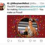 EFF supports a white Miss Universe