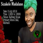 Memorial service of Comrade Sizakele Madalane